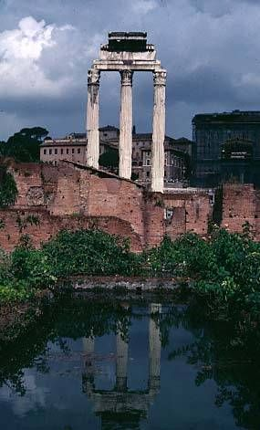 The Roman Forum (Forum Romanum) was originally a market place but became a place for politics, and public and private business. It is believed that before the Romans built their city, the area of the forum was a burial area (8-7th C. B.C.). Marcus Terentius Varro (116 B.C. – 27 B.C.) explains that the name of the Forum Romanum comes from the Latin verb conferrent.