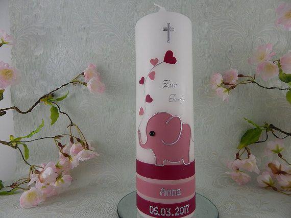 Taufkerze Elefant altrosa silber mit Herzen Taufkerzen für Mädchen 250x70 mm