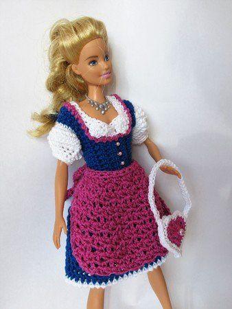 Häkelanleitung kurzes Dirndl für (Barbie-) Ankleidepuppen #crochetedbarbiedollclothes