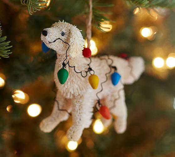 Bottle Brush Tangled Lab Ornament Pottery Barn Christmas