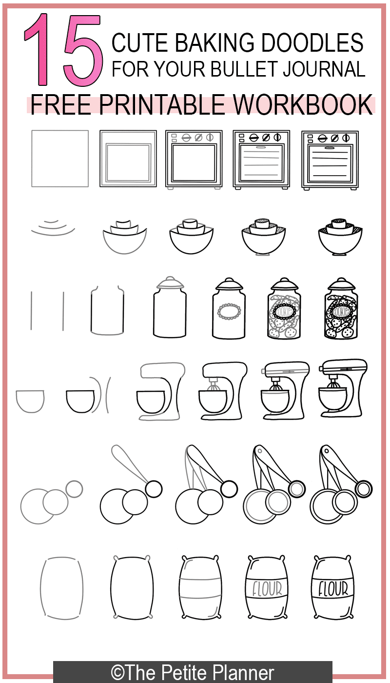 Photo of 15 Cute Baking Doodles for Your Bullet Journal + Free Printable Workbook ⋆ The Petite Planner