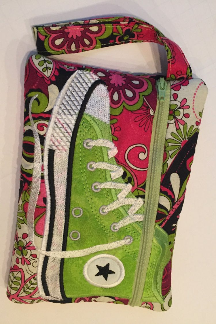 High Top Shoe Zippered Pouch, Pink and Lime Green, Bag, Wristlet by JazzyJoDesigns on Etsy
