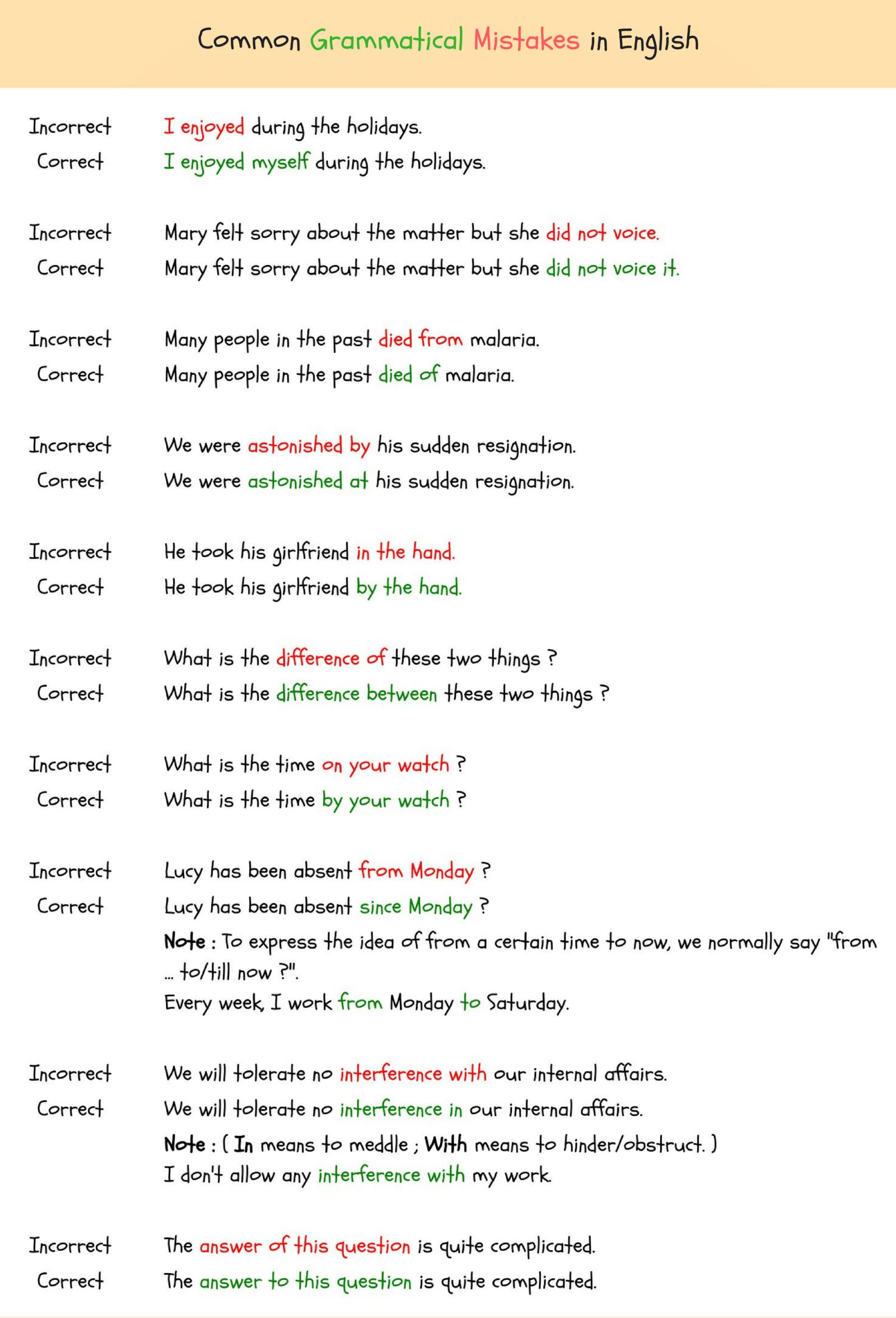 common esl errors