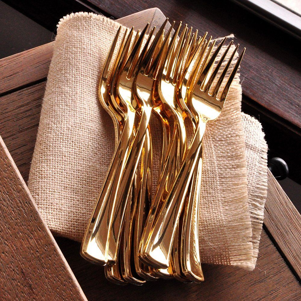 Forks 25ct Plastic Gold Silverware
