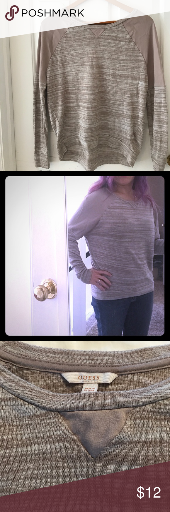 Guess pullover sweater / shirt Super cute tan / brown light knit sweater with silk like detail on shoulders and collar. Guess Sweaters Crew & Scoop Necks