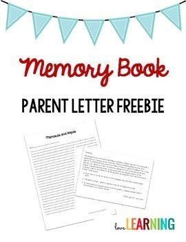 Memory Book Parent Letter Request I Absolutely Love The End Of