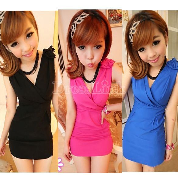 Ladies Sleeveless V Neck Bowknot Mini Dress Bodycon