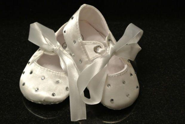 07433c3c3116ec White Satin Rhinestone Baby Shoes
