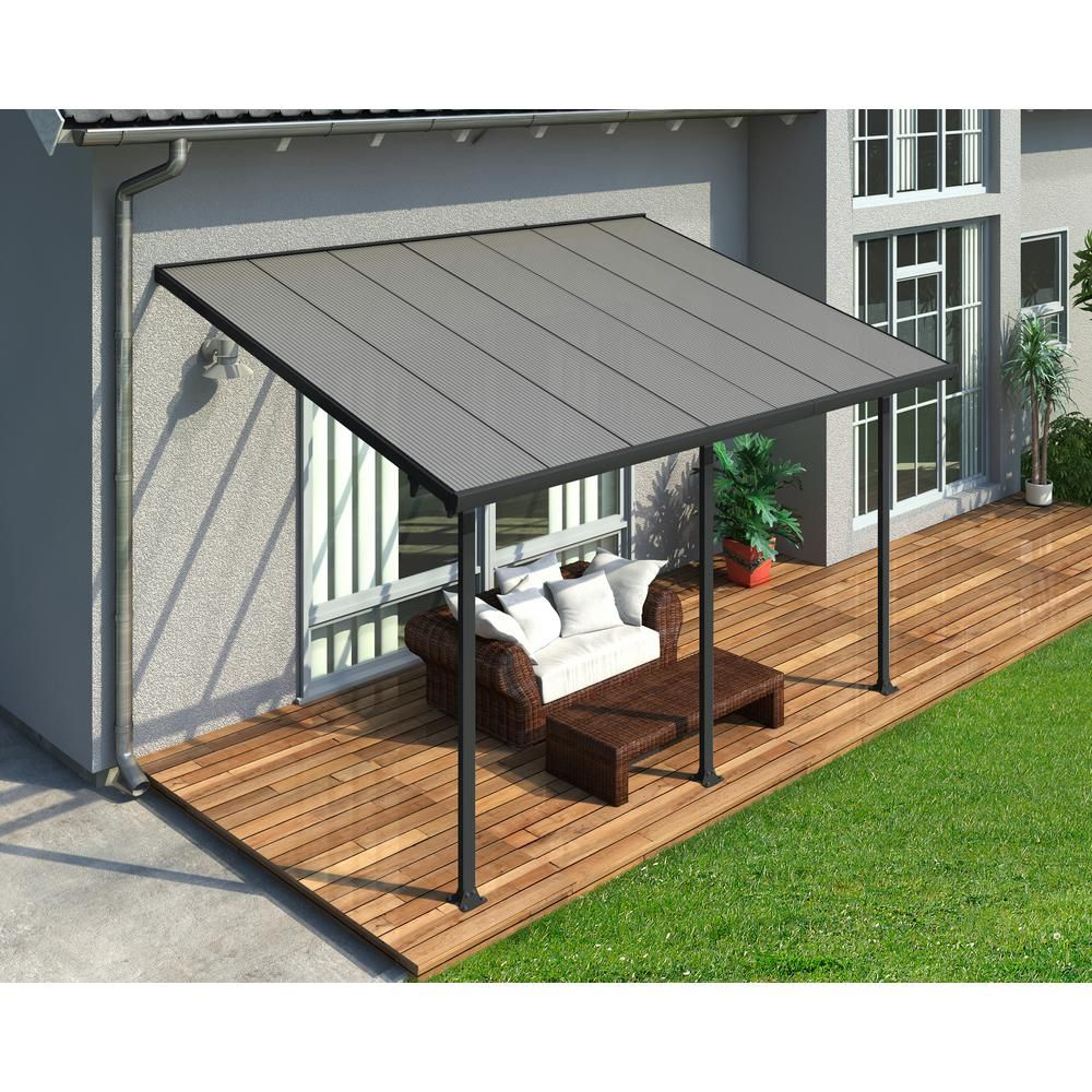 Palram Feria 10 ft. x 14 ft. Grey Patio Cover Awning, Grays