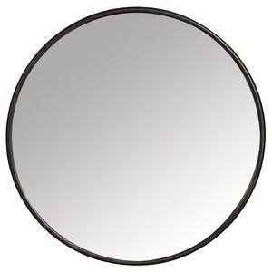 Miroir rond mural en fer noir boudoir for Miroir rond ikea