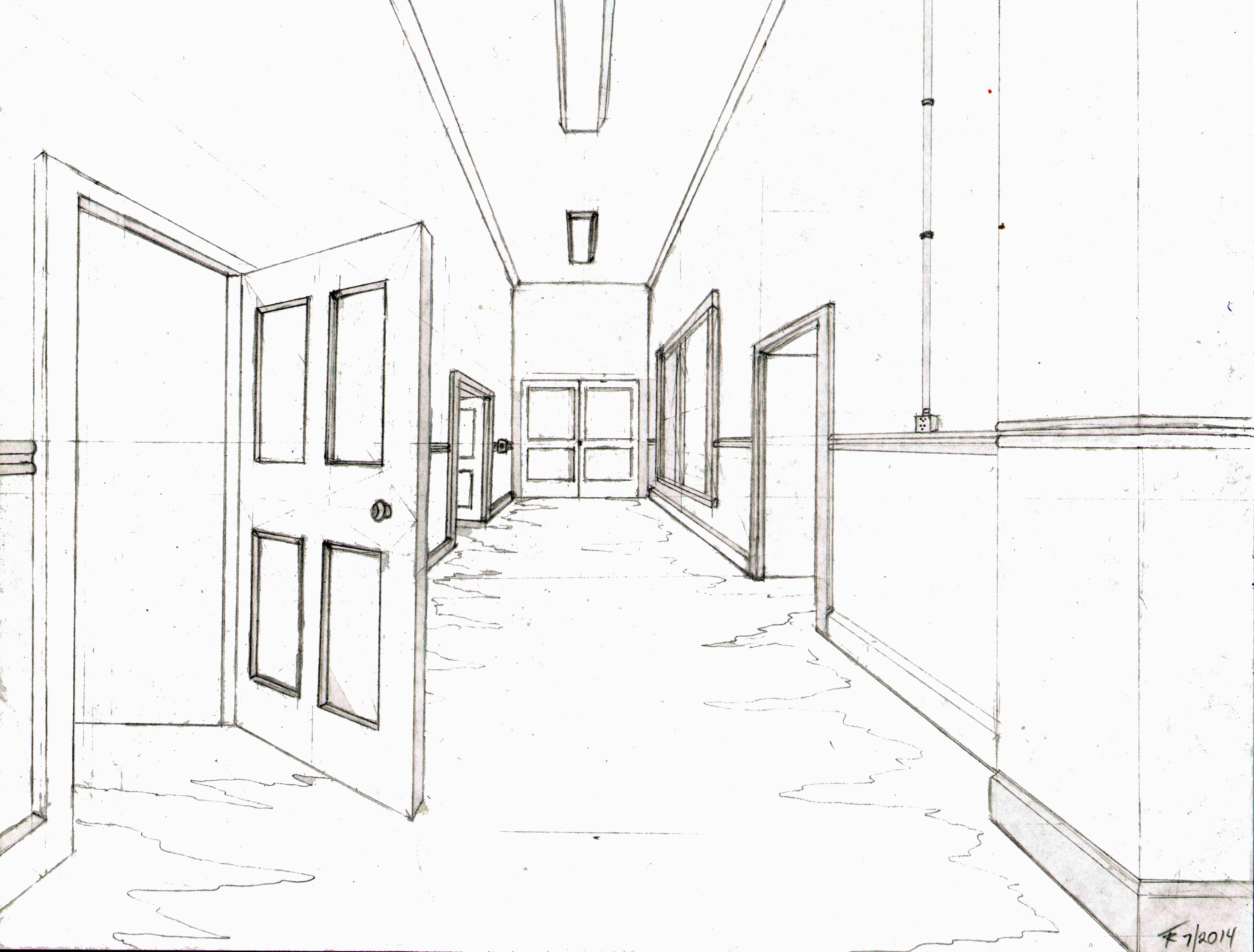 school hallway drawing - HD4409×3348