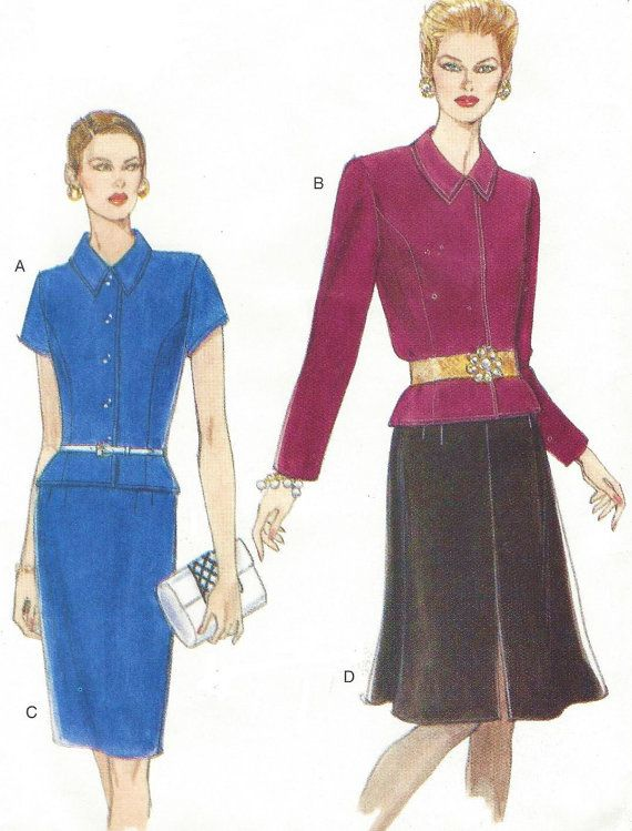 90s Womens Princess Seam Top and Slim or Flared Skirt Vogue Sewing ...