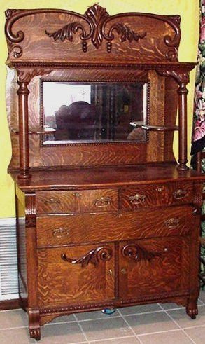 Antique Oak Sideboard Buffet With Mirror
