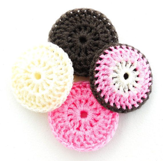 Crochet Dish Scrubbies Set of 4 Cream Pink and by ...