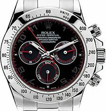 Rolex Daytona Stainless Steel 116520 Custom Arabic Racing Dial with Red Hands! | eBay