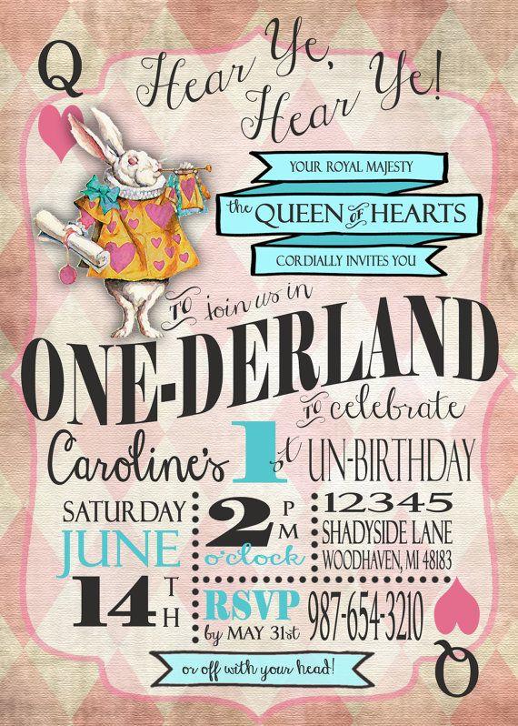 Boys girls alice in wonderland first birthday invitation boys girls alice in wonderland first by sweetbeeteaboutique filmwisefo
