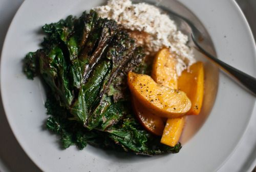 The Gouda Life » Grilled Kale Salad with Peaches and Ricotta