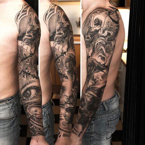 Magnifique Tatouage Ange Et Religion Bras Complet Homme Tatouage