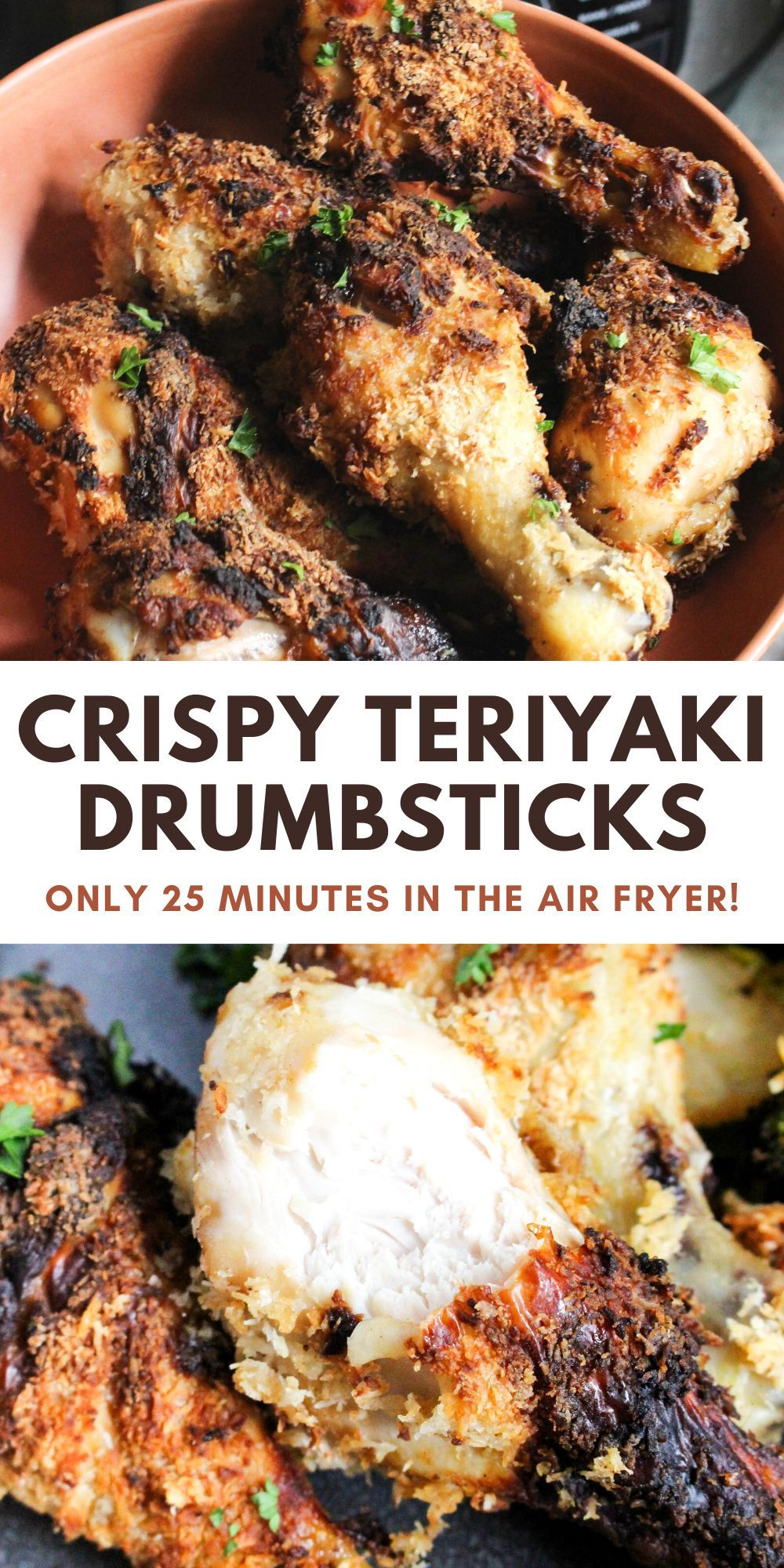 These Crispy Teriyaki Chicken Wings only take 25 minutes to make in the air fryer! They're marinated in a whole30 approved teriyaki sauce, and rolled in a simple flour mixture! The best healthy chicken wings you'll ever try! #teriyakichicken #healthychicken #airfryerchickenwings