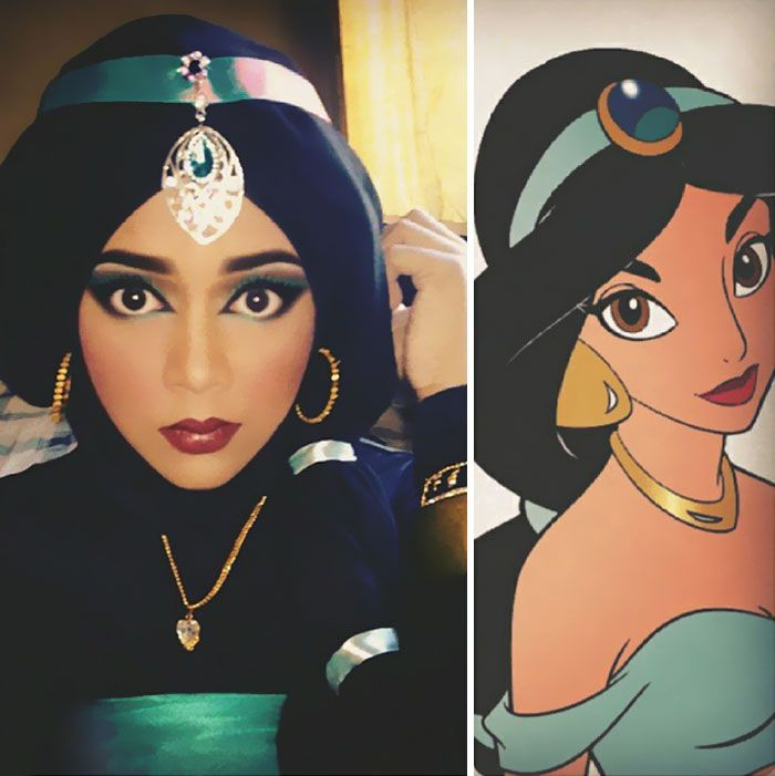 Hijab Disney Woman Uses Her Hijab To Turn Herself Into Disney - Makeup artist uses hijab to transform herself into disney characters