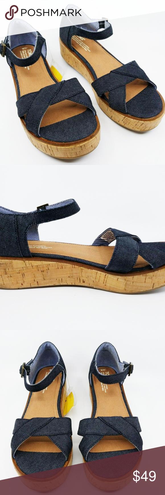 ec7677b0eb2c Toms Womens Harper Wedge Black Denim Sandals US 9 Ankle strap with an  adjustable metal buckle