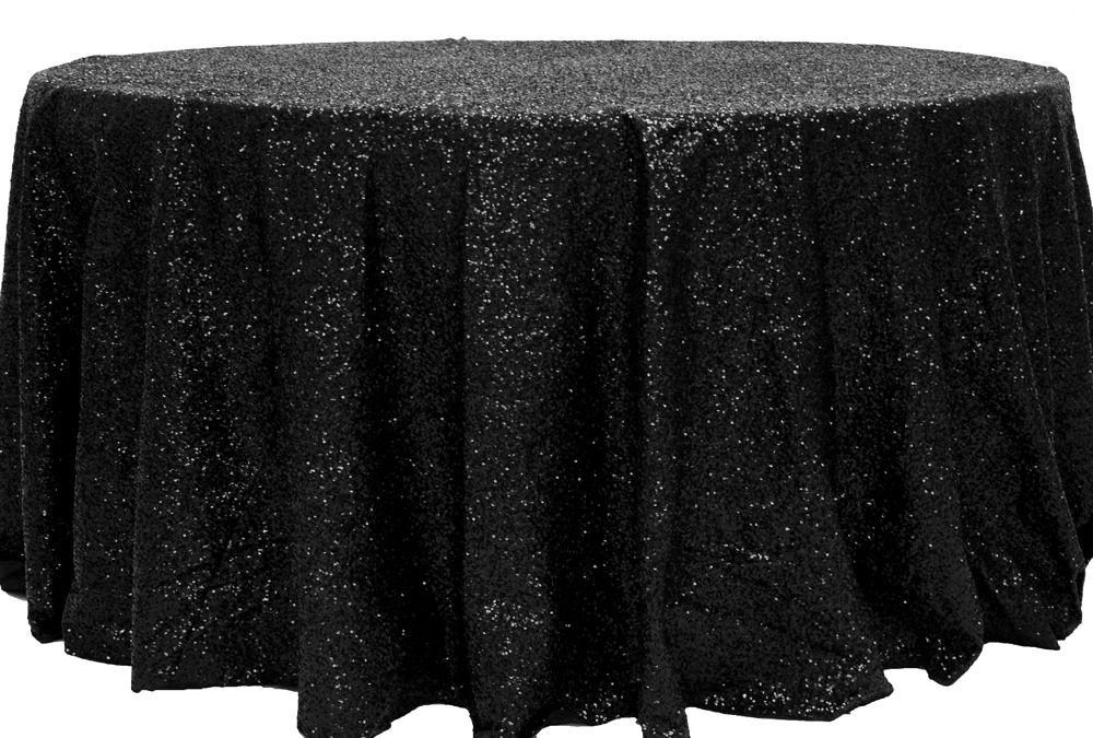 Glitz Sequins 132 Round Tablecloth Black Sequin Tablecloth