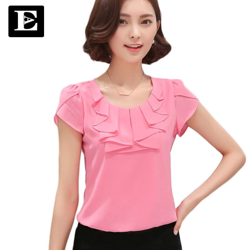 304c685be EveingAsky Office Women Shirts Blouses White Pink Purple Elegant Ladies  Chiffon Blouse Short Sleeve Womens Tops Chemise Femme