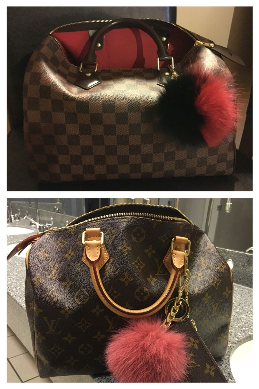 217f25fdd0fa Michael Kors Pom Pom bag charm collection on Louis Vuitton Speedy 30 ...