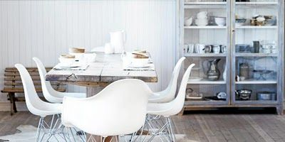 Eames chairs + rustic table