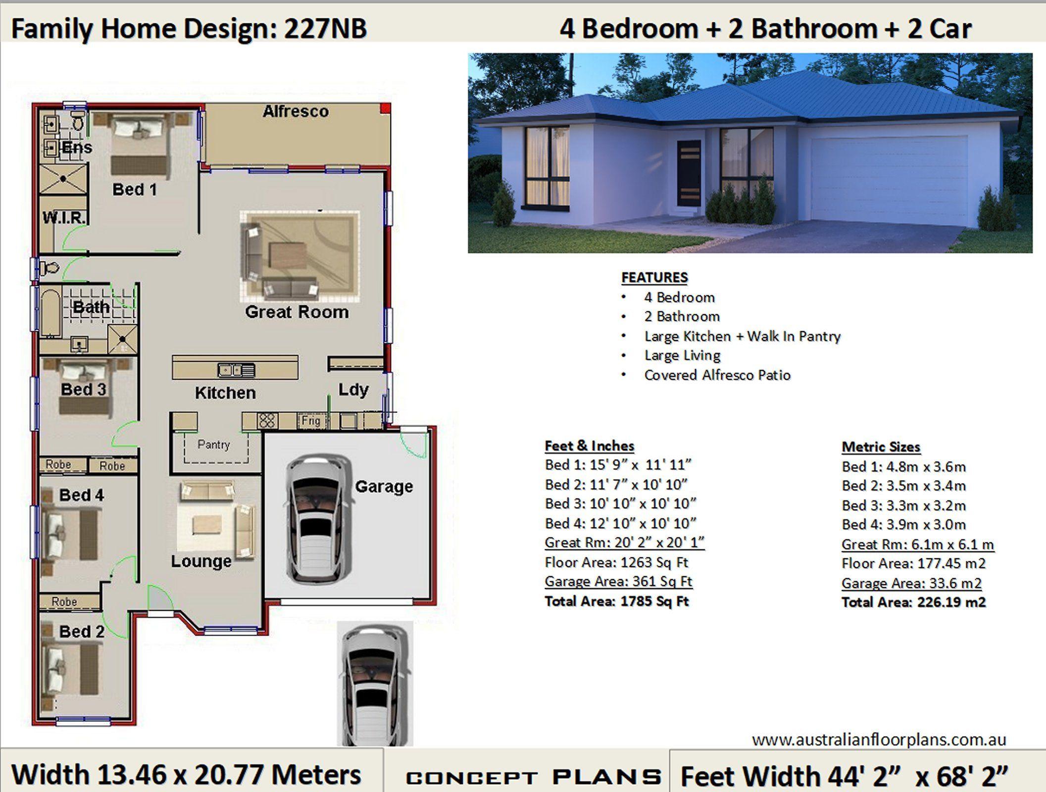House Plans 4 Bedroom House Plans Double Garage Home Etsy In 2020 Bedroom House Plans House Plans 4 Bedroom House Plans
