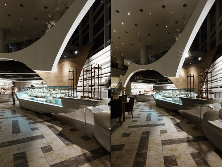 The il lago bakery and wine shop inside the mvl hotel in goyang city south korea is impressive and commands your view as your enter the hotel lobby