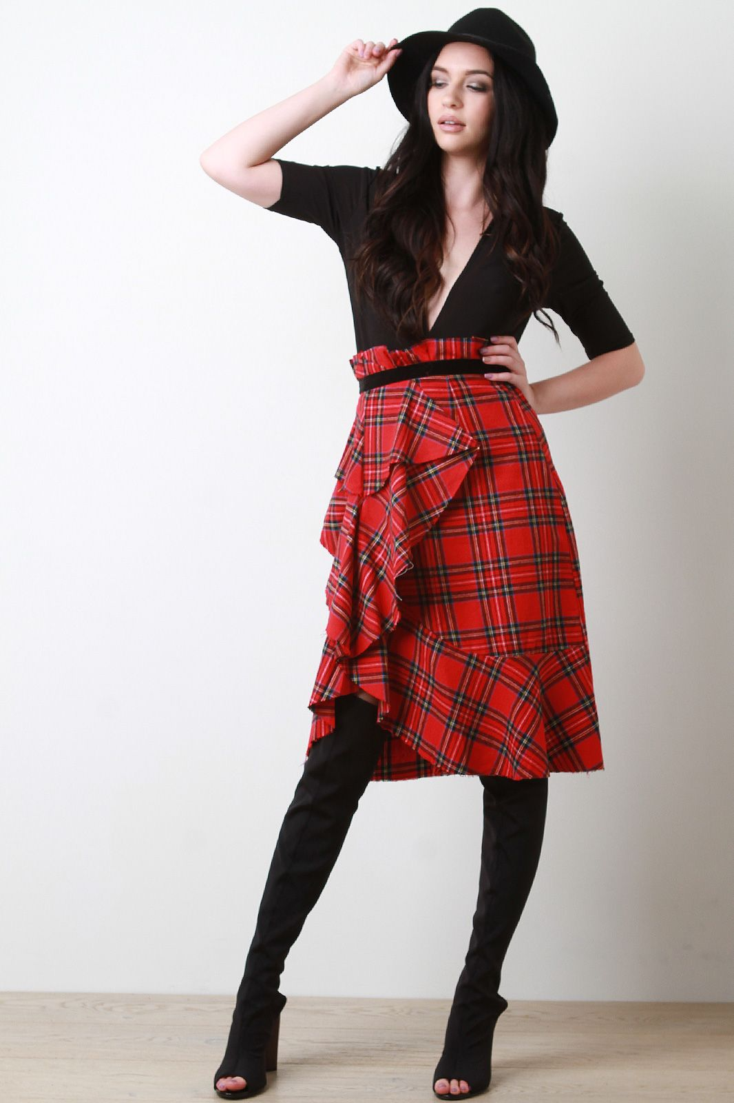 ea3a3c4cabc Shop Plaid Draped Ruffle Midi Paper Bag Skirt featuring woven plaid fabric