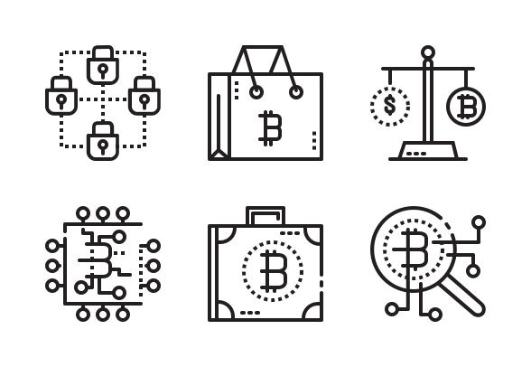 Bitcoin Dot Line Icons By Mangsaabguru Dotted Line Dots Bitcoin