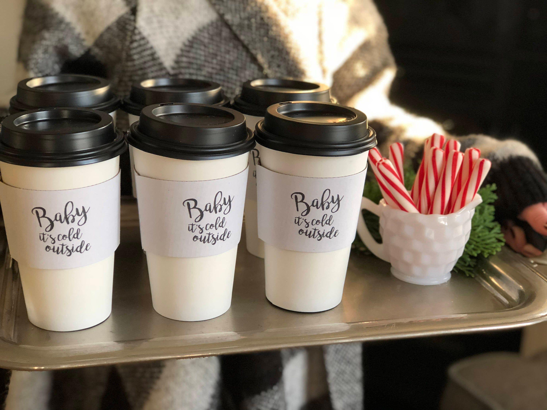 Set 12 White Coffee + Hot Cocoa Cups black Lids 16oz