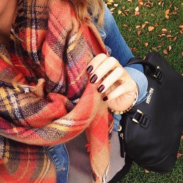 Scarf - Zara, nail polish - Essie Berry Hard | Nails | Pinterest ...
