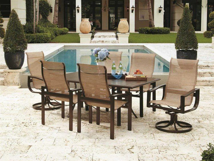 Winston Belvedere Sling Aluminum Dining Set In 2021 Outdoor Dining Chairs Backyard Dining Outdoor Furniture Sets