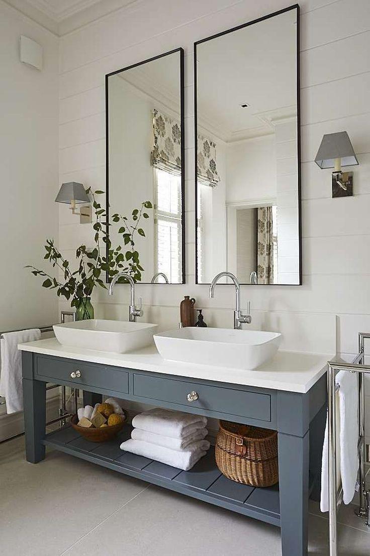 Nice 99 Modern Farmhouse Bathroom Vanity Design Ideas. Love The Sinks.  #bathroomcabinetsideas