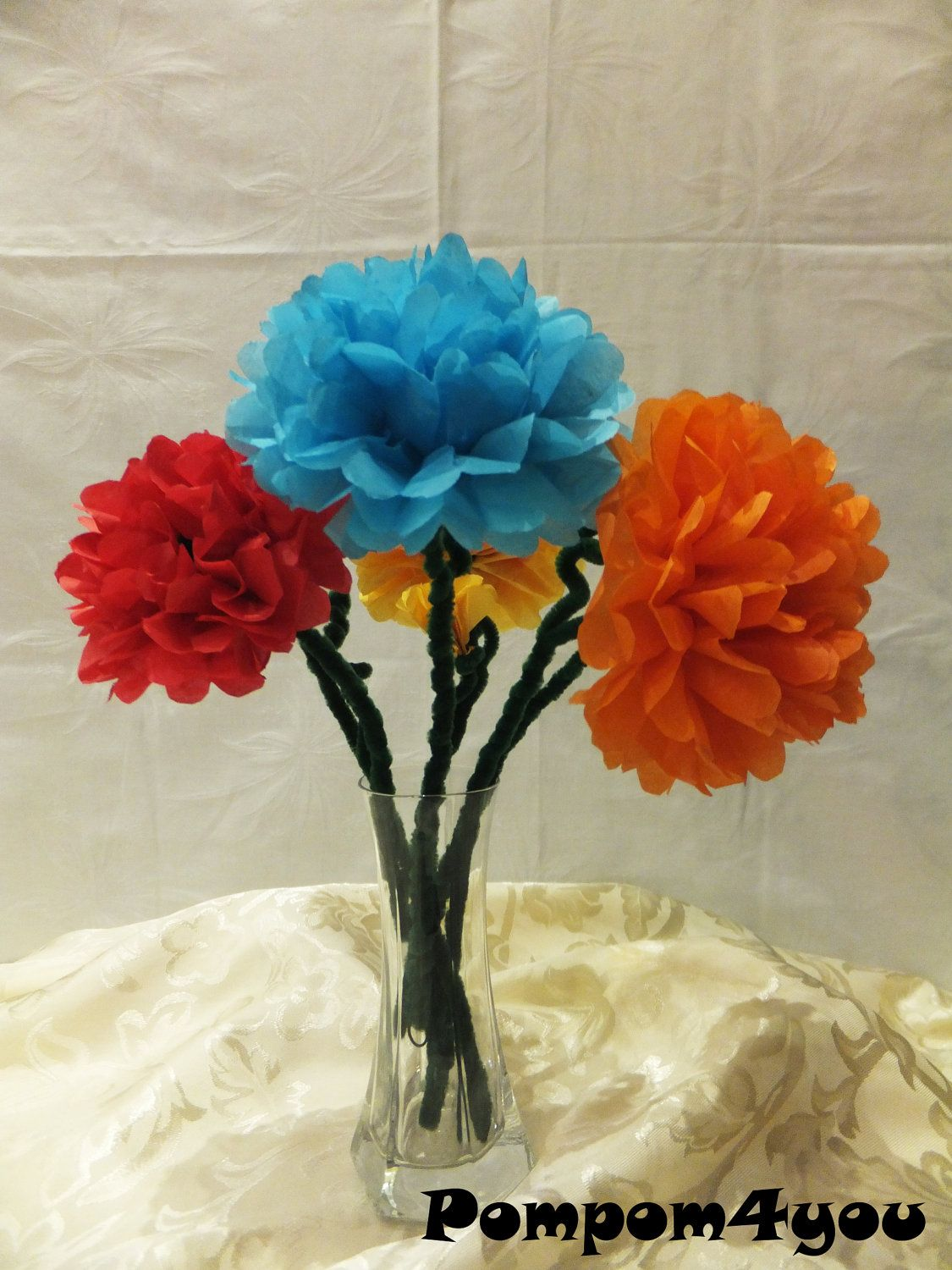 15 tissue paper flowers with pipe cleaner by pompom4you on etsy via 15 tissue paper flowers with pipe cleaner by pompom4you on etsy via etsy mightylinksfo
