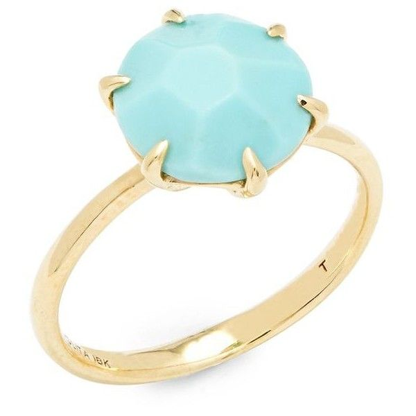 IPPOLITA Rock Candy 18K Yellow Gold & Turquoise Ring (€400) ❤ liked on Polyvore featuring jewelry, rings, green turquoise ring, 18k ring, yellow gold turquoise ring, ippolita ring and turquoise gold jewelry