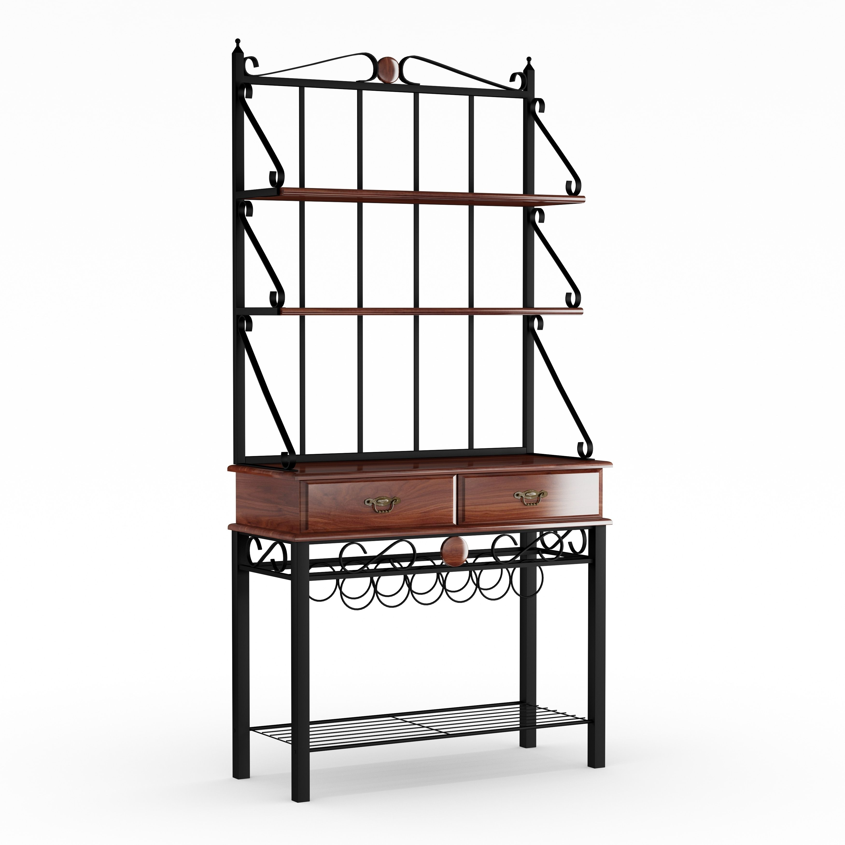 Copper Grove Liscomb Kitchen Cabinet Bakers Rack With 3 Shelves