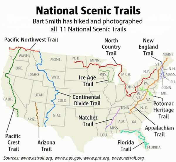 National Scenic Trails covers all the major hiking trails in the