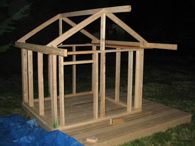 3 add roof and overhang on porch do this flat for second for Plans for childrens playhouse