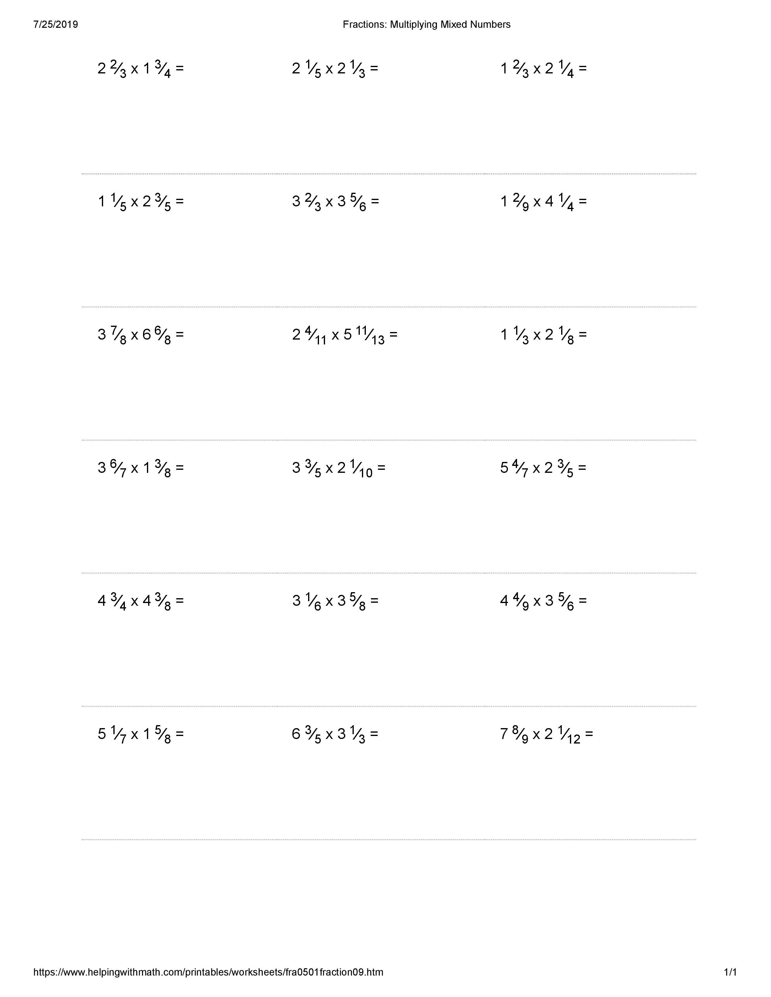 Best 10 Multiplying Fraction Worksheets