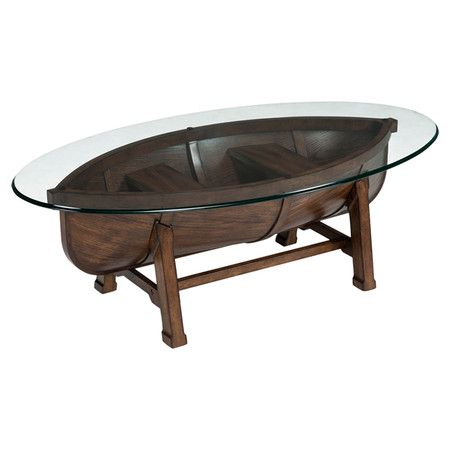 Showcasing A Tempered Glass Top On A Boat Shaped Wood Frame This