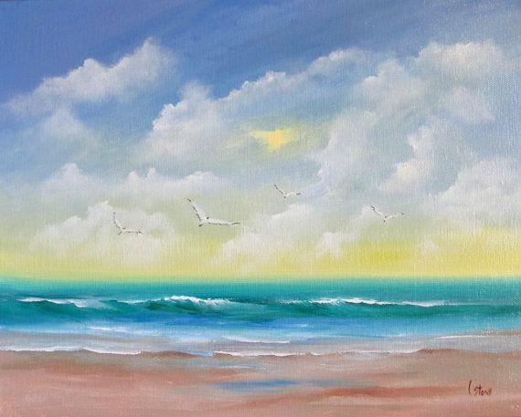 Original Seascape Painting Seagulls And By Valentinestudiosart Seascape Paintings Original Fine Art Watercolor Art Diy