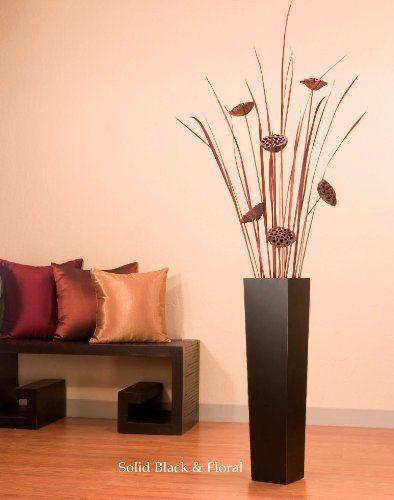 Green Floral Crafts Lotus Pods In Tall Black Floor Vase Green