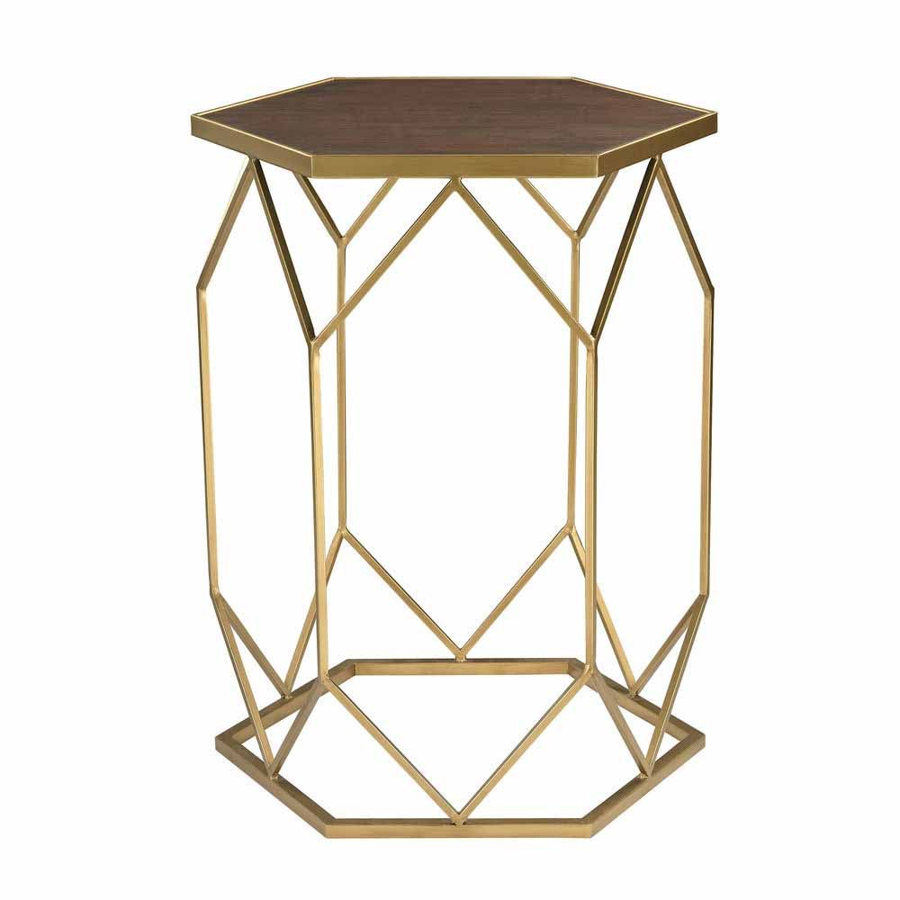Geometric Gold Framed Mahogany Side Table In 2019 Accent
