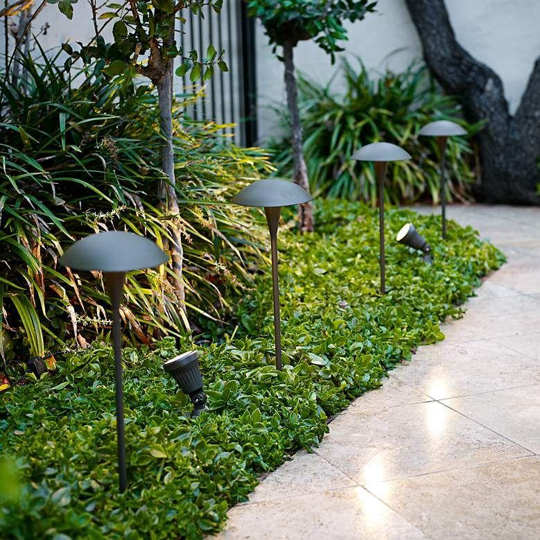 Large mushroom low voltage bronze led landscape path light 2c494 lamps plus