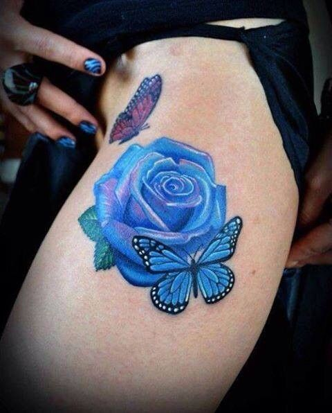 Awesome Blue Rose With Butterfly Watercolor Tattoo On Thigh Blue