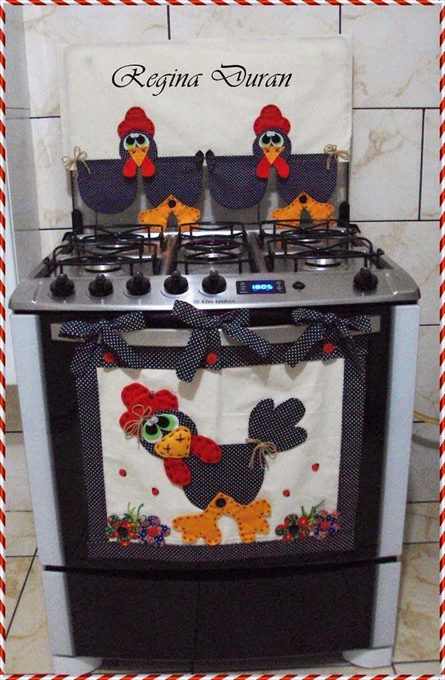 REGINA DURAN: Panô e capa de tampa de fogão da galinha.   jogos de ...